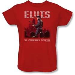 Elvis Presley - Womens Return Of The King T-Shirt In Red