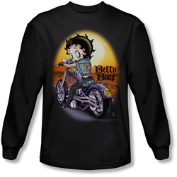 Betty Boop - Mens Wild Biker Long Sleeve Shirt In Black