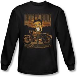 Betty Boop - Mens Rebel Rider Long Sleeve Shirt In Black