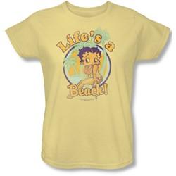 Betty Boop - Womens Life'S A Beach T-Shirt In Banana