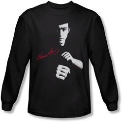 Bruce Lee - Mens The Dragon Awaits Long Sleeve Shirt In Black