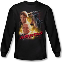 Airwolf - Mens Airwolf Long Sleeve Shirt In Black