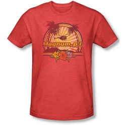 Magnum P.I. - Mens Hawaiian Sunset T-Shirt In Red