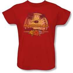 Magnum P.I. - Womens Hawaiian Sunset T-Shirt In Red