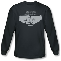 Psych - Mens Fist Bump Long Sleeve Shirt In Charcoal