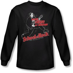 School Of Rock - Mens Rockin Long Sleeve Shirt In Black