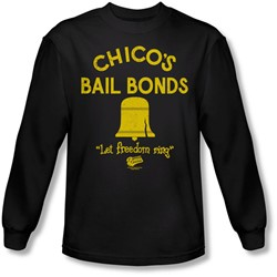 Bad News Bears - Mens Chico'S Bail Bonds Long Sleeve Shirt In Black