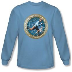 Tintin - Mens Around The Globe Long Sleeve Shirt In Carolina Blue