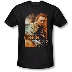 Tintin - Mens Adventure Poster T-Shirt In Black