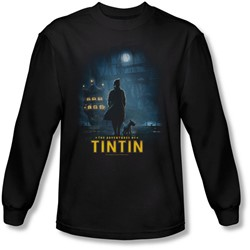 Tintin - Mens Title Poster Long Sleeve Shirt In Black