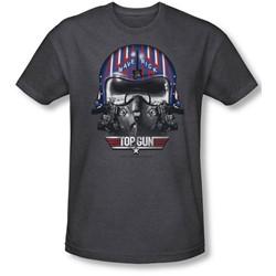 Top Gun - Mens Maverick Helmet T-Shirt In Charcoal