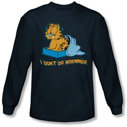 Garfield - Mens I Don'T Do Mornings Long Sleeve Shirt In Navy