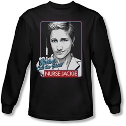 Nurse Jackie - Mens Nurses Call The Shots Long Sleeve Shirt In Black
