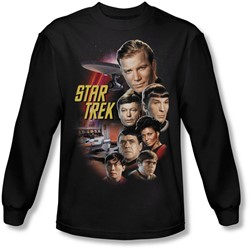 Star Trek: The Original Series - Mens The Classic Crew Long Sleeve Shirt In Black