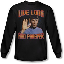 Star Trek: The Original Series - Mens Live Long And Prosper Long Sleeve Shirt In Black