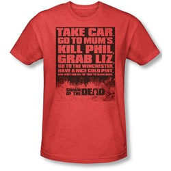 Shaun Of The Dead - Mens List T-Shirt In Red