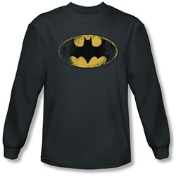 Batman - Mens Destroyed Logo Long Sleeve Shirt In Charcoal