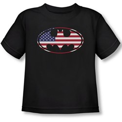 Batman - Toddler American Flag Oval T-Shirt In Black
