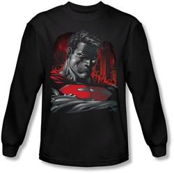 Superman - Mens Man Of Steel Long Sleeve Shirt In Black