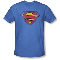 Superman - Mens Destroyed Supes Logo T-Shirt In Royal