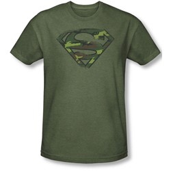 Superman - Mens Distressed Camo Shield T-Shirt In Military Green