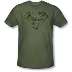 Superman - Mens Marine Camo Shield T-Shirt In Military Green