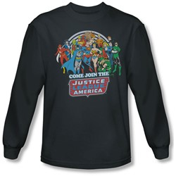 Dc Comics - Mens Join The Justice League Long Sleeve Shirt In Charcoal