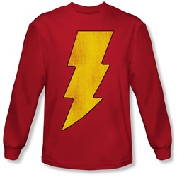 Dc Comics - Mens Shazam Logo Distressed Long Sleeve Shirt In Red