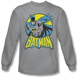 Dc Comics - Mens Batman Long Sleeve Shirt In Silver