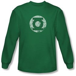 Dc Comics - Mens Distressed Lantern Logo Long Sleeve Shirt In Kelly Green