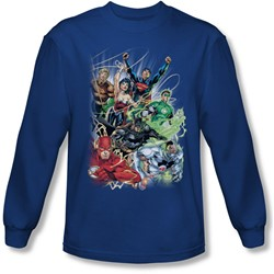Justice League, The - Mens Justice League #1 Long Sleeve Shirt In Royal