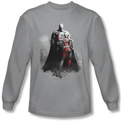 Batman: Arkham City - Mens Harley And Bats Long Sleeve Shirt In Silver