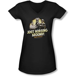Abbott & Costello - Juniors Horsing Around V-Neck T-Shirt