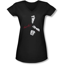 Bruce Lee - Juniors The Dragon Awaits V-Neck T-Shirt