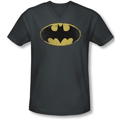 Batman - Mens Distressed Shield V-Neck T-Shirt