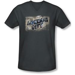 Arkham City - Mens Greetings From Arkham V-Neck T-Shirt