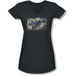 Arkham City - Juniors Greetings From Arkham V-Neck T-Shirt