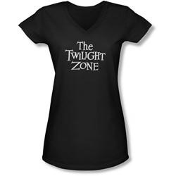 Twilight Zone - Juniors Logo V-Neck T-Shirt