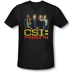 Csi Miami - Mens The Cast In Black V-Neck T-Shirt