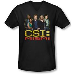 Csi Miami - Mens The Cast In Black V-Neck T-Shirt