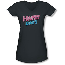 Happy Days - Juniors Happy Days Logo V-Neck T-Shirt