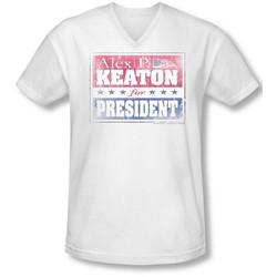 Family Ties - Mens Alex For President V-Neck T-Shirt