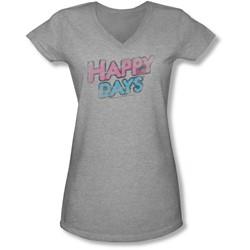 Happy Days - Juniors Distressed V-Neck T-Shirt