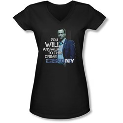 Csi Ny - Juniors You Will Answer V-Neck T-Shirt