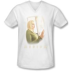 Medium - Mens White Light V-Neck T-Shirt