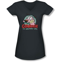 Courage The Cowardly Dog - Juniors Courage V-Neck T-Shirt