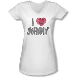 Johnny Bravo - Juniors I Heart Johnny V-Neck T-Shirt