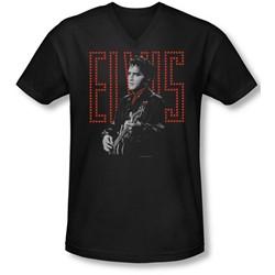 Elvis - Mens Red Guitarman V-Neck T-Shirt