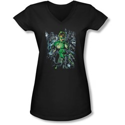 Green Lantern - Juniors Surrounded By Death V-Neck T-Shirt