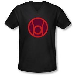 Green Lantern - Mens Red Symbol V-Neck T-Shirt